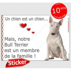 """Bull Terrier blanc assis, sticker autocollant """"Love"""" intérieur/Extérieur voiture adhésif chien photo"""
