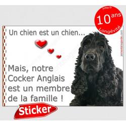 """Cocker Anglais spaniel noir Tête, sticker autocollant """"Love"""" intérieur/Extérieur adhésif photo chien membre famille"""