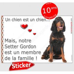 """Sticker autocollant """"Love"""", Setter Gordon assis, intérieur/Extérieur, membre famille idée cadeau adhésif noir et feu photo chien"""
