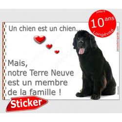 """Terre Neuve assis, sticker """"Love"""" 16 x 12 cm, intérieur/Extérieur"""