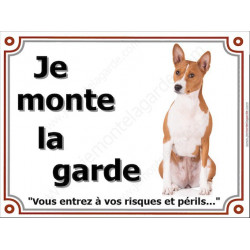 Plaque 4 tailles LUXE je Monte la Garde, Basenji Assis