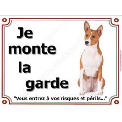 Plaque portail 4 tailles LUXE  je Monte la Garde, Basenji Assis