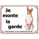 Plaque 4 tailles LUXE je Monte la Garde, Basenji Assis