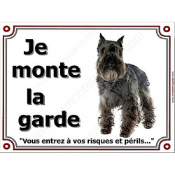 """Schnauzer noir, plaque """"Je Monte la Garde"""" 3 tailles LUX B"""