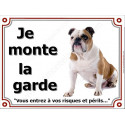 Plaque 4 tailles LUXE je Monte la Garde, Bulldog Anglais Cocard