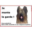 "Briard Fauve, plaque portail ""Je Monte la Garde"" 2 tailles ECO A"