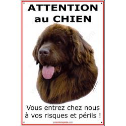 """Terre Neuve, plaque vericale """"Attention au Chien"""" 24 cm ECO"""