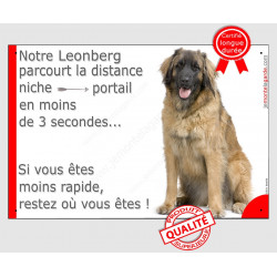 """Leonberg, plaque humour """"parcourt distance Niche - Portail"""" 24 cm 3SEC"""