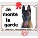"""Malinois Tête, plaque """"Je Monte la Garde"""" 3 tailles LUX B"""