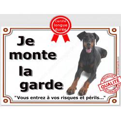 """Dobermann Couché, plaque portail """"Je Monte la Garde"""" 3 tailles, LUX A"""