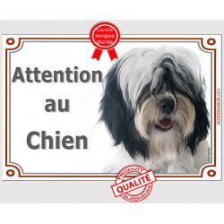 Plaque portail 2 tailles Attention au Chien, Terrier du Tibet noir et blanc poils longs Tête pancarte panneau tibétain