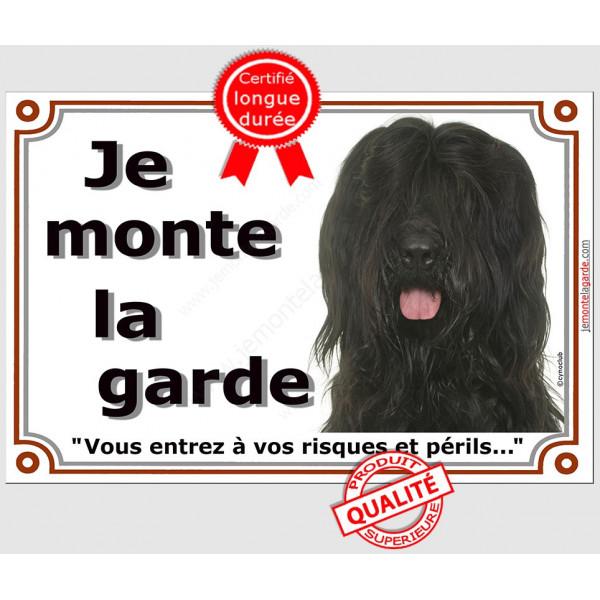 Briard Noir Tête, Plaque portail Je Monte la Garde, panneau affiche pancarte, risques périls Berger de Brie attention au chien