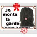 """Briard Noir, plaque """"Je Monte la Garde"""" 2 tailles LUX C"""
