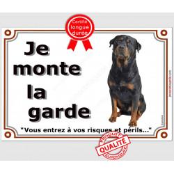 """Rottweiler Assis, plaque """"Je Monte la Garde"""" 2 tailles LUX B"""