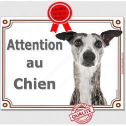 Plaque portail Attention au Chien, Lévrier Whippet bringé Tête, pancarte panneau