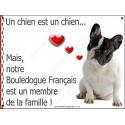 Plaque 2 Tailles LOVE Membre de la Famille, Bouledogue Français Caille