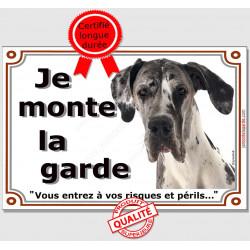 """Plaque portail, photo Dogue Allemand Arlequin """"Je Monte la Garde risques périls"""" pancarte Attention au Chien Danois panneau"""
