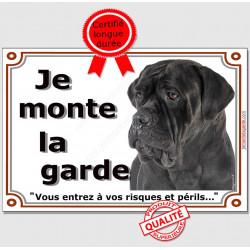 """Cane Corso Italiano noir Tête, plaque """"Je Monte la Garde, risques et périls"""" , pancarte photo panneau attention au Chien"""