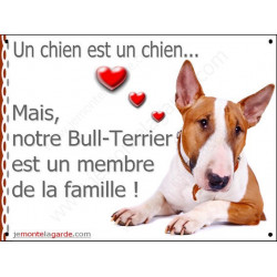 Plaque 2 Tailles LOVE Membre de la Famille, Bull Terrier Fauve et Blanc