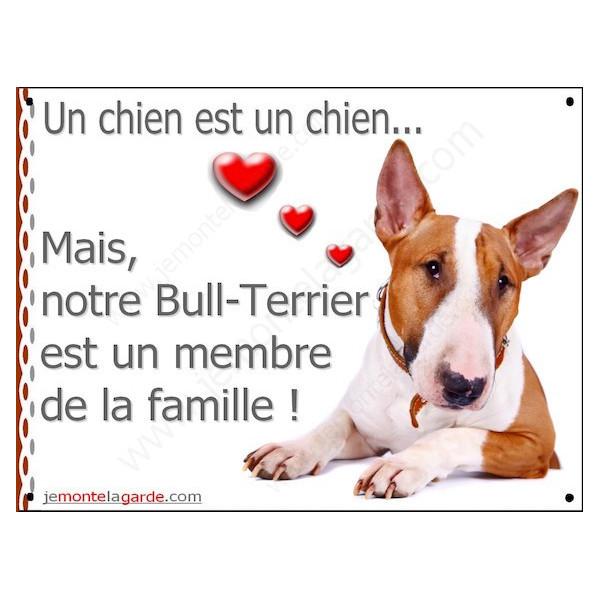 Bull Terrier Fauve et Blanc, Plaque Portail un chien est un chien, membre de la famille, pancarte, affiche panneau
