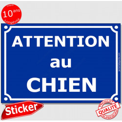 """Sticker Portail """"Attention au Chien"""" Rue Bleu Marine 24 cm CLR"""