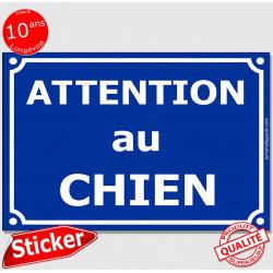 """Sticker autocollant Portail """"Attention au Chien"""" Plaque Rue Bleu Marine adhésif"""