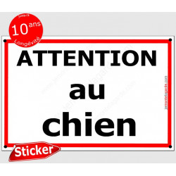 "Sticker Portail ""Attention au Chien Rue"" liseré Rouge 24 cm CLR"