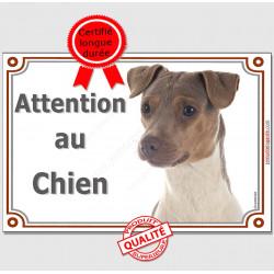 """Terrier Brésilien Tête, plaque portail """"Attention au Chien"""" 2 tailles pancarte panneau"""
