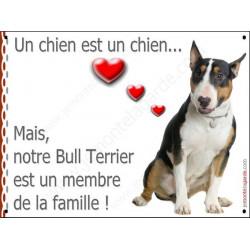 Bull Terrier Tricolore, Plaque Portail un chien est un chien, membre de la famille, pancarte, affiche panneau