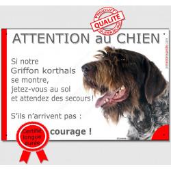 """Griffon Korthals tête, plaque humour """"Jetez Vous au Sol, Attention au Chien"""" pancarte drôle attendez secours courage"""