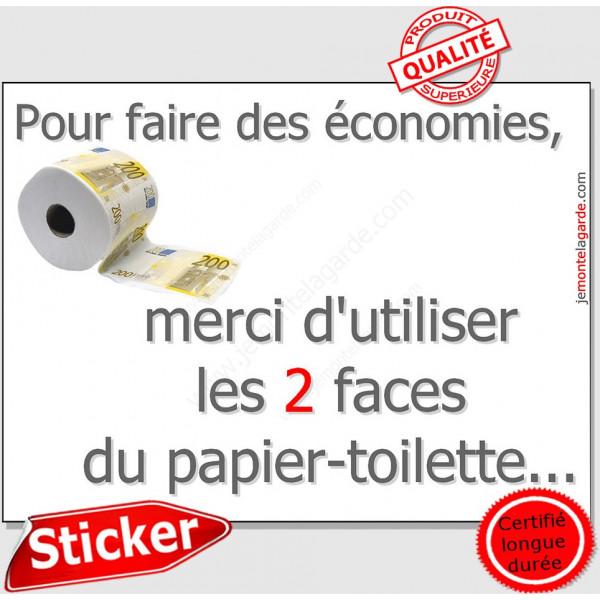 Economie pratique ! Plaque-merci-d-utiliser-les-2-faces-du-papier-toilette-16-cm