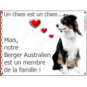 Plaque 2 Tailles LOVE Membre de la Famille, Berger Australien Tricolore Noir