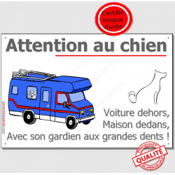 "Plaque ou Sticker ""Attention au Chien"" Camping-Car 24 cm OBI A"