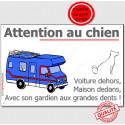 """Plaque ou Sticker """"Attention au Chien"""" Camping-Car 24 cm OBI A"""