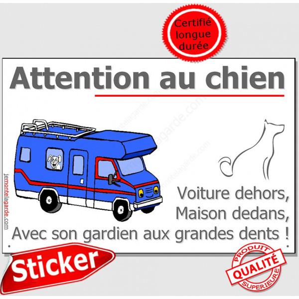 Camping-Car, Sticker autocollant Portail Attention au Chien, adhésif résistant pluie soleil gel
