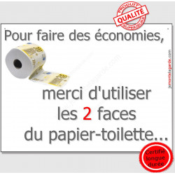 Plaque ou sticker autocollant 16 cm OBI, Merci d'utiliser les 2 faces du papier-toilette...