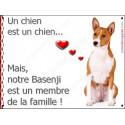 Plaque 16 cm LOVE Membre de la Famille, Basenji