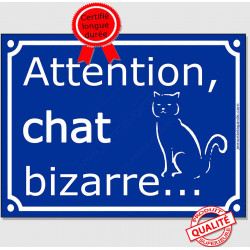 "Plaque ou sticker portail bleu humour ""Attention au Chat Bizarre"", 16 cm A"