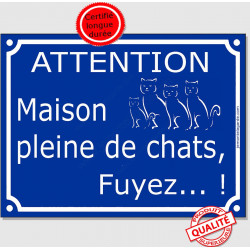 """Plaque ou sticker portail bleu humour """"Attention, Maison pleine de chats, fuyez !"""", 16 cm pluriel panneau drôle"""