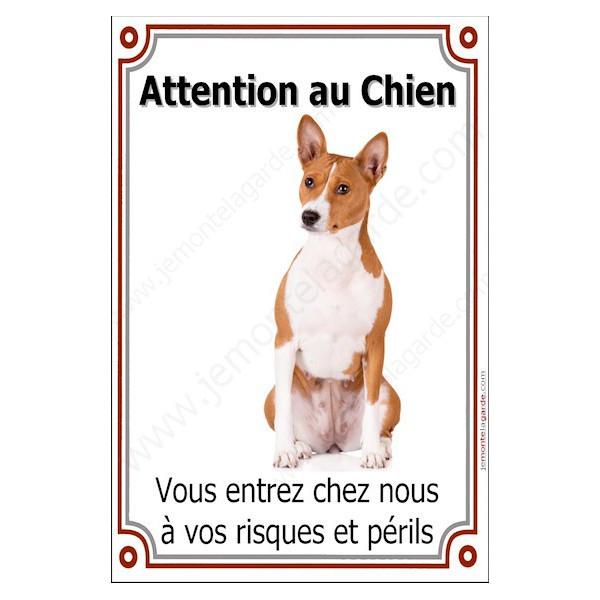 """Basenji, Plaque Portail verticale """"Attention au Chien, risques périls"""" pancarte, affiche panneau photo"""