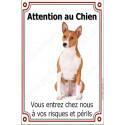 """Basenji, plaque verticale """"Attention au Chien"""" 24 cm VLC"""