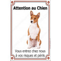 Plaque portail verticale 24 cm Attention au Chien, Basenji assis