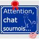 """Plaque ou sticker portail bleu humour """"Attention au Chat sournois"""", 16 cm, pancarte drôle panneau vicieux"""