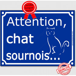 "Plaque ou sticker portail bleu ""Attention au Chat sournois"" 16 cm"