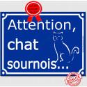 """Plaque ou sticker portail bleu """"Attention au Chat sournois"""" 16 cm"""