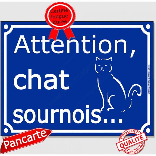 """Plaque portail bleu humour """"Attention au Chat sournois"""", 16 cm, pancarte drôle panneau vicieux"""