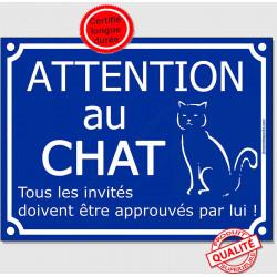 """Plaque ou sticker portail bleu humour """"Attention au Chat"""", Tous les invités...approuvés 16 cm, pancarte drole panneau"""