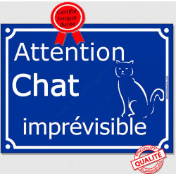 "Plaque ou sticker portail bleu ""Attention au Chat Imprévisible"" 16 cm A"