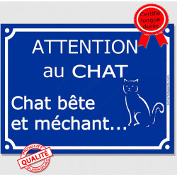 "Plaque ou sticker portail bleu ""Attention au Chat bête et méchant"" 16 cm"