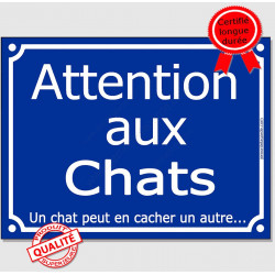 "Plaque ou sticker bleu ""Attention aux Chats, un chat peut en cacher un autre"" 16 cm"